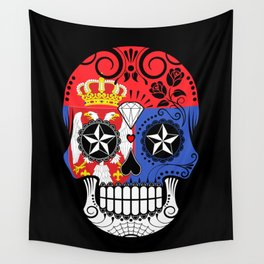 Sugar Skull with Roses and Flag of Serbia Wall Tapestry