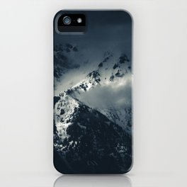 Darkness and clouds over the mountains iPhone Case