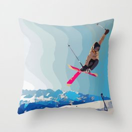 Man jumps with skies on piste with mountains and sky background Throw Pillow