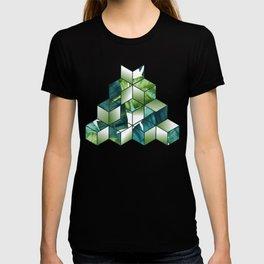 Tropical Cubic Effect Banana Leaves Design T-shirt