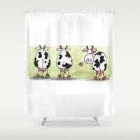 cows Shower Curtains featuring Three cows by Tali Shemes