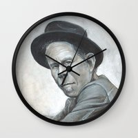 tom waits Wall Clocks featuring Tom Waits by Lars-Erik Robinson