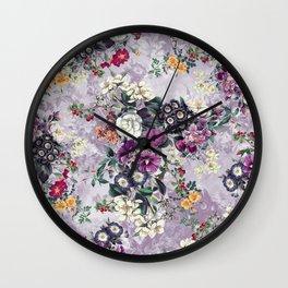 Botanical Flowers Purple Wall Clock