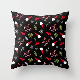 Scandi Christmas Gnome - Black Throw Pillow