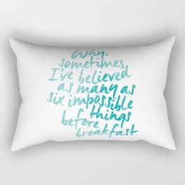 Six Impossible Things in Aqua Rectangular Pillow