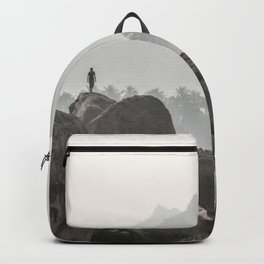 A Silhouette in the Monochromatic Boulders of India Backpack