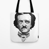 poe Tote Bags featuring Poe by Brandi St. Romain