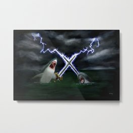 Shark vs. Narwhal  Metal Print