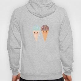 Kawaii funny Ice cream waffle cone, with pink cheeks and winking eyes Hoody