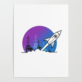 Rocket Blast Off to Space Poster