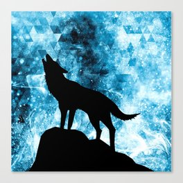 Howling Winter Wolf snowy blue smoke Canvas Print