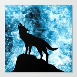Howling Winter Wolf snowy blue smoke Canvas Print