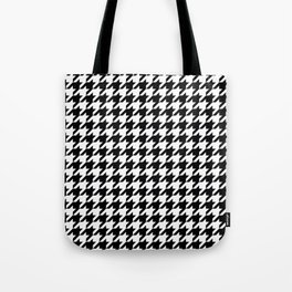 White/Black Houndstooth Tote Bag