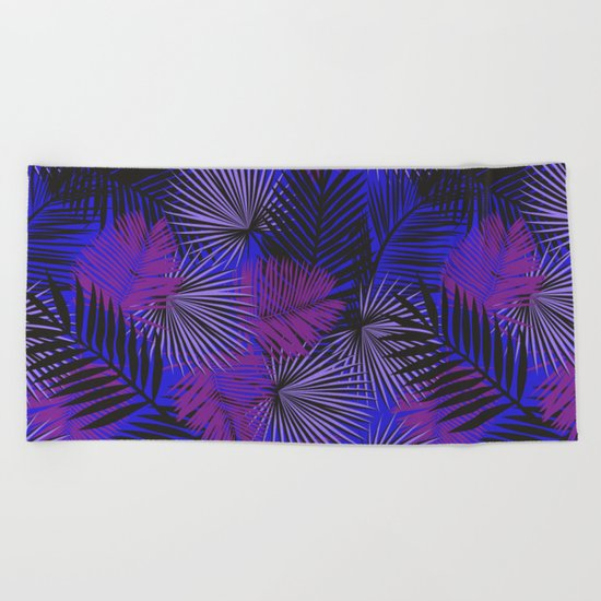 Tropical Black Purple & Blue Beach Towel
