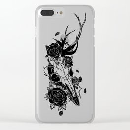 Deer skull with roses Clear iPhone Case