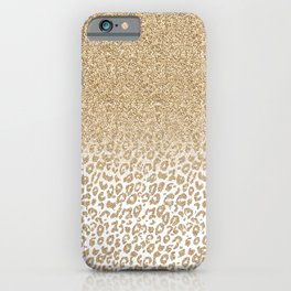 Trendy Gold Glitter and Leopard Print Gradient Design iPhone Case