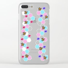 Trans Pride Floral Bee Print Clear iPhone Case