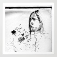 Thoughtful - Native American Indian Drawing  Art Print