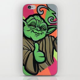 Yoda bright - acrylic on canvas - 20X16 - blac light glow iPhone Skin