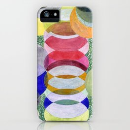 Overlapping Ovals and Circles on Green Dotted Ground iPhone Case