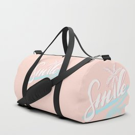 'SMILE' tropical calligraphy on peach pink Duffle Bag