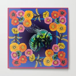 Green Fly and Flowers Metal Print