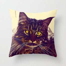 squinting maine coon cat vector art foggy night Throw Pillow