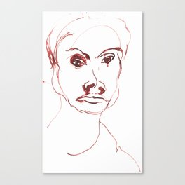 Portrait in red ink 1997 Canvas Print