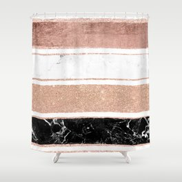 Faux rose gold glitter modern marble stripes pattern Shower Curtain