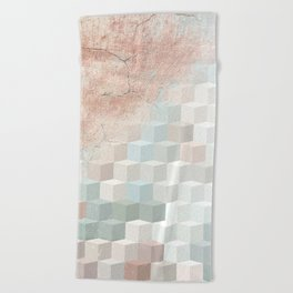 Distressed Cube Pattern - Nude, turquoise and seashell Beach Towel