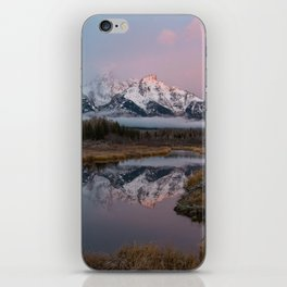 Snowy Pink Sunrise in the Tetons iPhone Skin