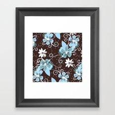 Summer blossom, brown and blue pattern Framed Art Print