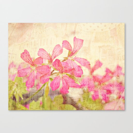 Vintage Whimsical Watermelon Pink Summer Geraniums in the City Montage Collage _  très chic Canvas Print