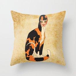Cat-Woman Throw Pillow