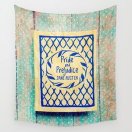 Pride and Prejudice Book in Yellow Wall Tapestry