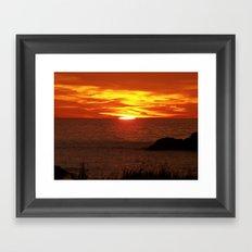 Flaming Skies Across the Sea Framed Art Print