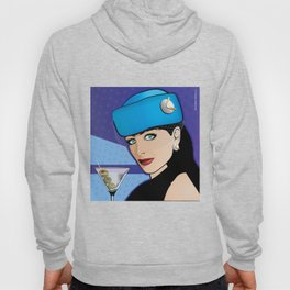 Beautiful Pop Art Girl with Martini and Stewardess Hat Hoody