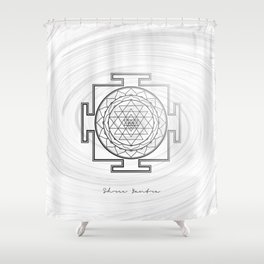 Swirly Shree Yantra Shower Curtain