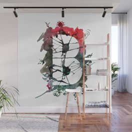 Watercolor hand drawn the letter B with flower pattern. ABC. Monogram Wall Mural