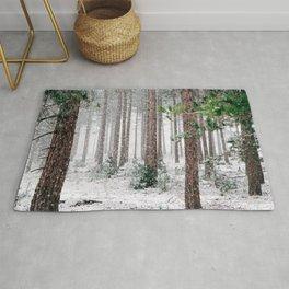 Snowy Pine trees Rug