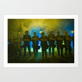 Riot Police Line - Yellow/Blue/Green  Art Print