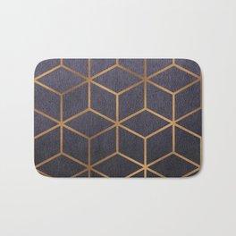 Dark Purple and Gold - Geometric Textured Gradient Cube Design Bath Mat