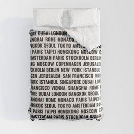 Famous City pattern Grass White & Black Comforters