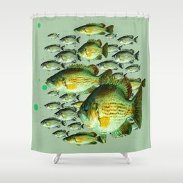 GREENISH  SEA BASS FISHING GRAPHIC Shower Curtain