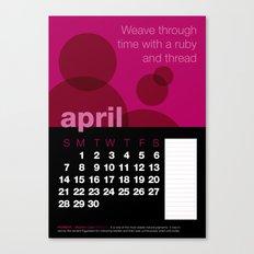 2013 Pigment to Pantone Calendar – APRIL Canvas Print