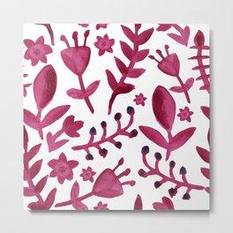 Abstract Watercolor Flowers Metal Print