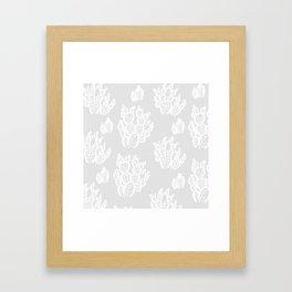 Prickly Pear Grey Cacti Framed Art Print