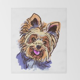 The cute smiley Yorkie love of my life! Throw Blanket