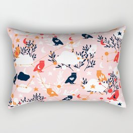 Cute Owl and Constellations Rectangular Pillow