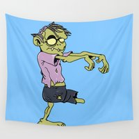 zombie Wall Tapestries featuring zombie by flydesign